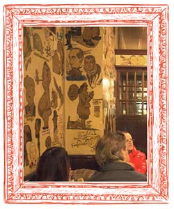 The Palm, decoración con caricaturas